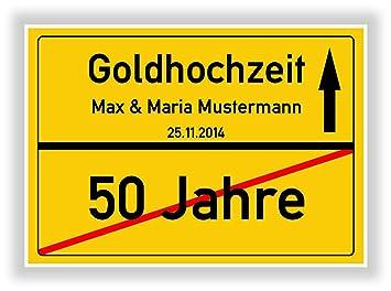 Unbekannt Geschenkidee Zur Goldhochzeit 50 Jahre Verheiratet Goldene Hochzeit Ortsschild Bild Geschenk Zum Jubiläum Mit Namen Und Datum