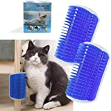 TTSAM 2 Pack Softer Cat Corner Self Groomer with Catnip Wall Corner Massage Comb Corner Scratcher Pet Grooming Brush…