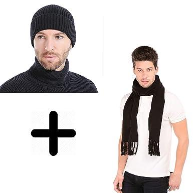d6c5d47e4f2 Grab Offers Men s Wool Knitted Skull Hat Cap and Muffler (Multicolour