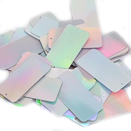 Silver Metallic Sequin Skinny Rectangle 1.5 inch Couture Loose Paillettes