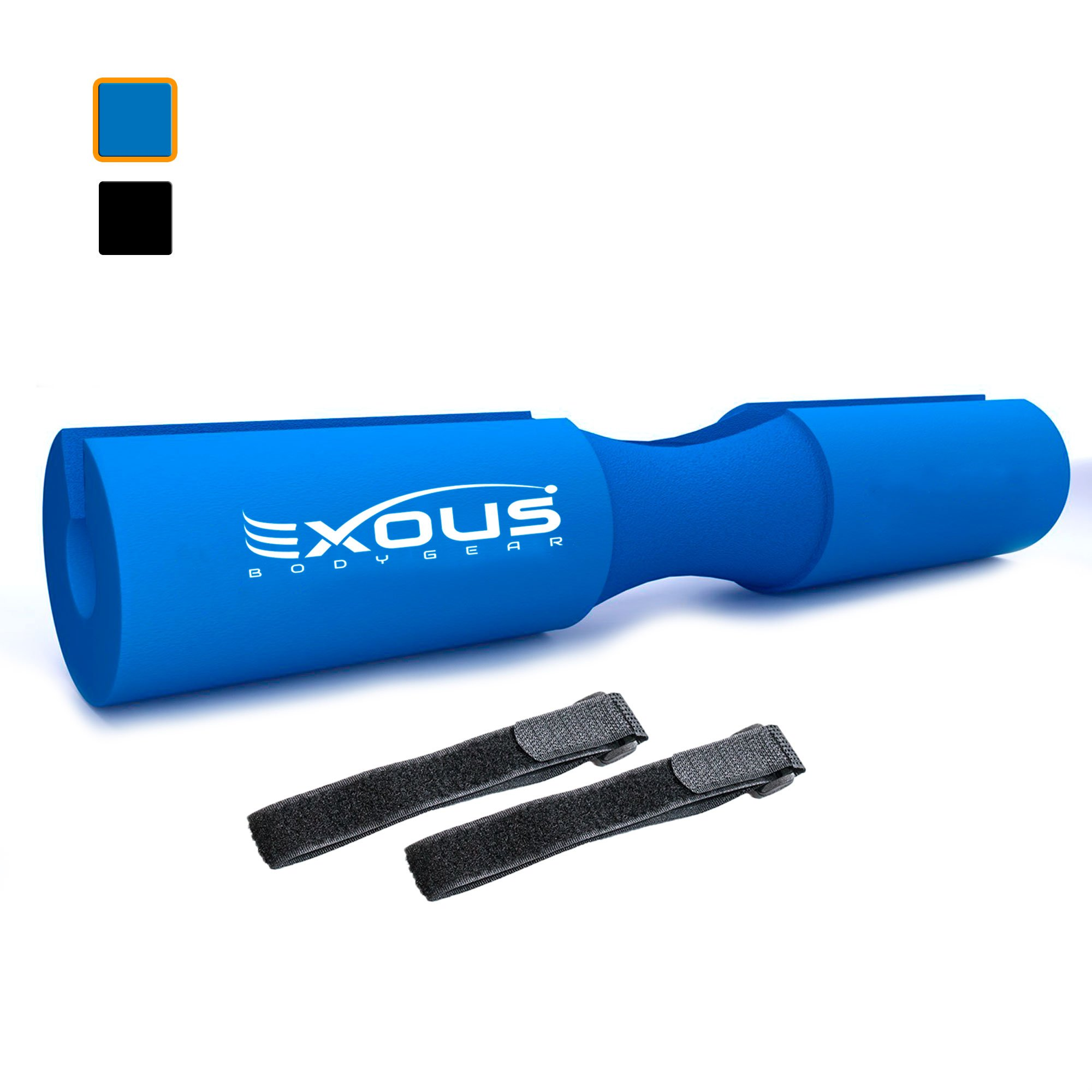 EXOUS Bodygear Barbell Pad Squat Bar Foam Neck Cushion - for Hip Thrusts - Fits Olympic Weight Lifting Bar - Fixing Straps for Non Slip Fit (Cool Blue)