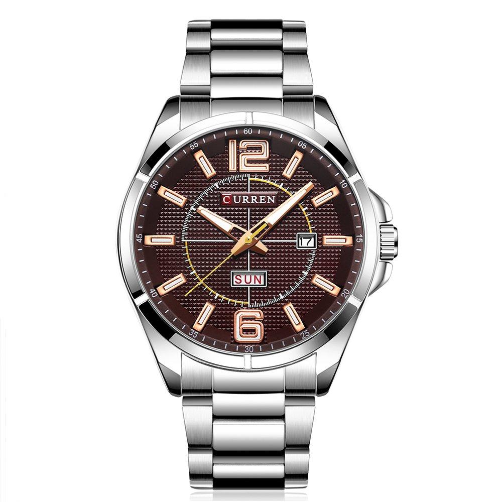 New Men Watch Quartz Water Resistant Sliver Steel Watchband Wristwatches Calendar 8271