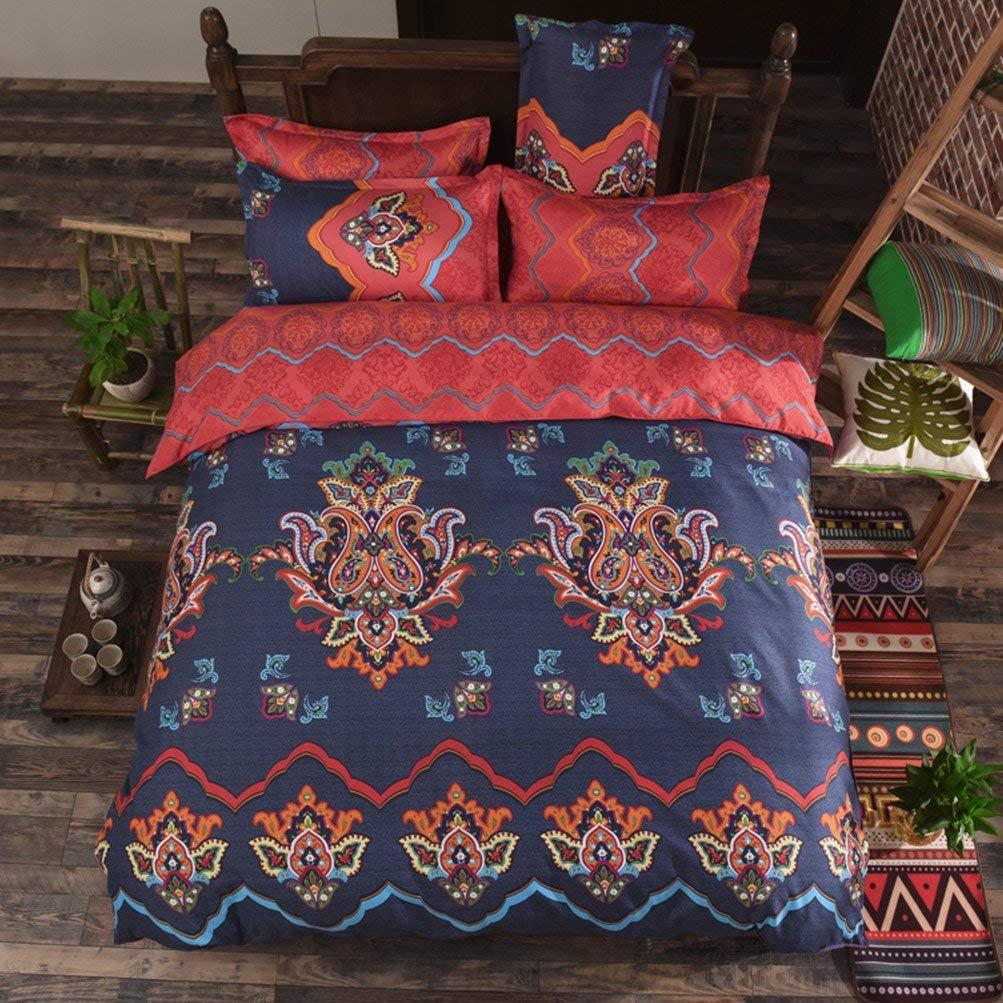 Bettwäsche Bettwäschegarnituren 2 X Marokkanische Mandalas Sterne Orange Baumwollmischung Doppel Bettbezüge Einfach Zu Verwenden