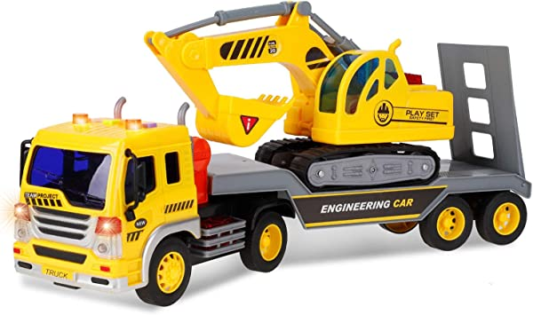 Liberty Imports Friction Powered Flatbed Trailer Truck with Excavator Tractor - Push and Go Construction Toy for Kids with Lights and Sounds - Realistic 1:16 Scale Vehicle