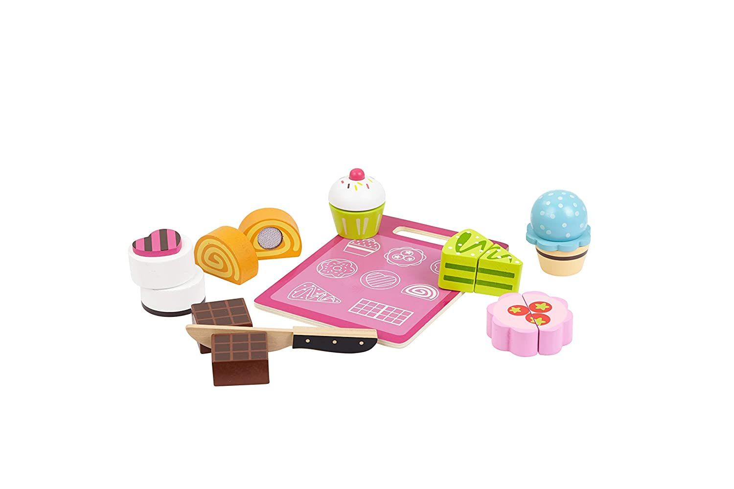 TOYSTERS Wooden Dessert Cutting Play Food Set | Wood Toys for Kids | Premium-Quality Pretend Children Kitchen Cooking Playset | Learning Resources for Toddlers | AT610