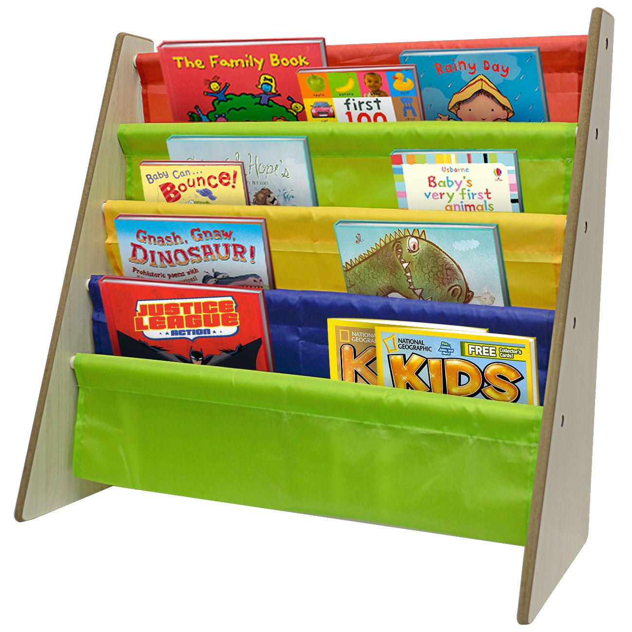 amazoncom sorbus kids bookshelf  bright primary color pockets  - amazoncom sorbus kids bookshelf  bright primary color pockets toddlerbookcase features sling pockets for books  toysgreat for bedroomplayroom