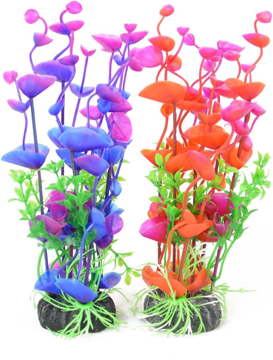 CNZ Aquarium Decor Fish Tank Decoration Ornament Artificial Plastic Plant Green 8-inch Purple & Red
