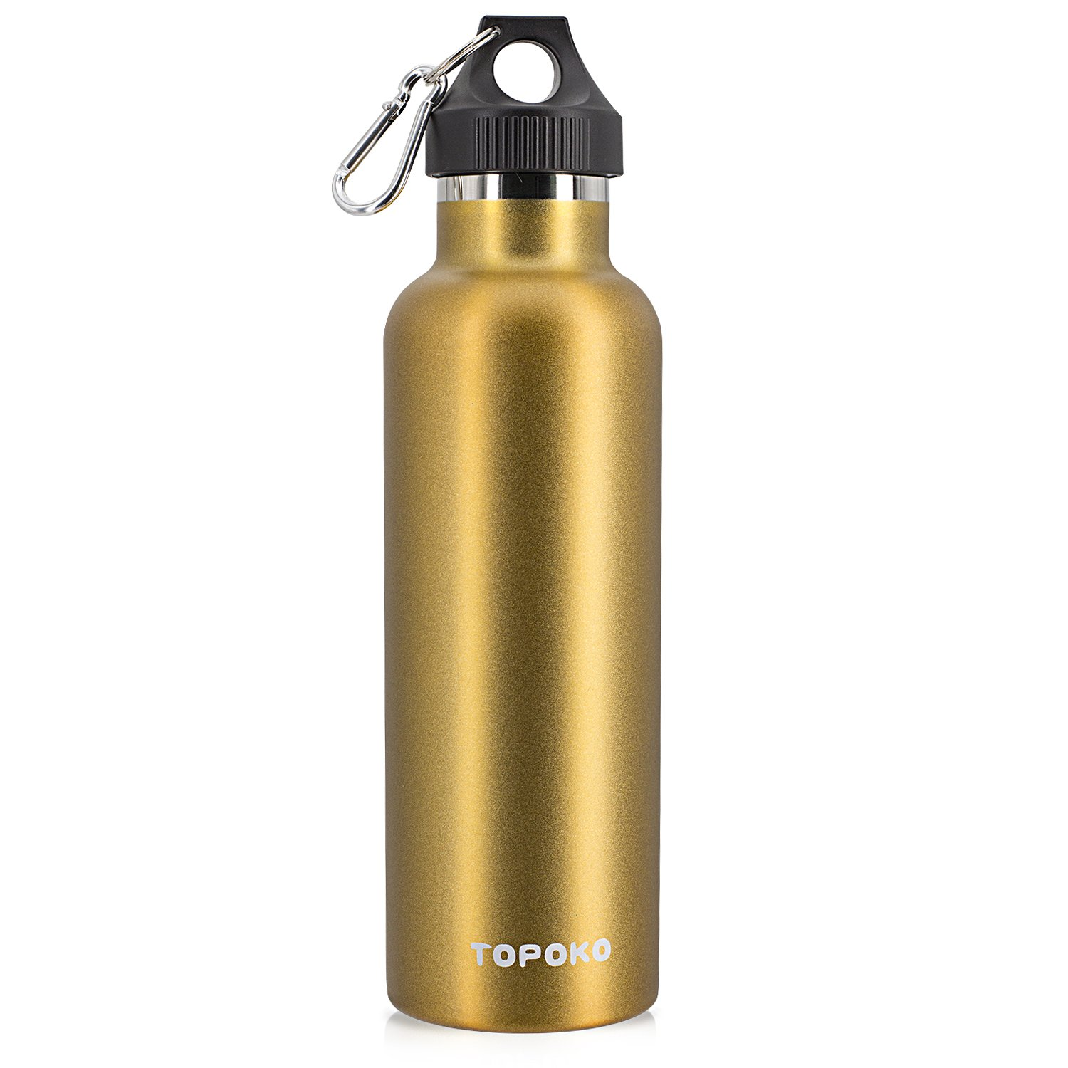 Stainless Steel Vacuum Insulated Water Bottle Double Wall - TOPOKO Top Quality Hydration Thermos - Camping Hiking Travel No Leak Rust Resistant Colored - 25 oz, Gold by TOPOKO (Image #1)