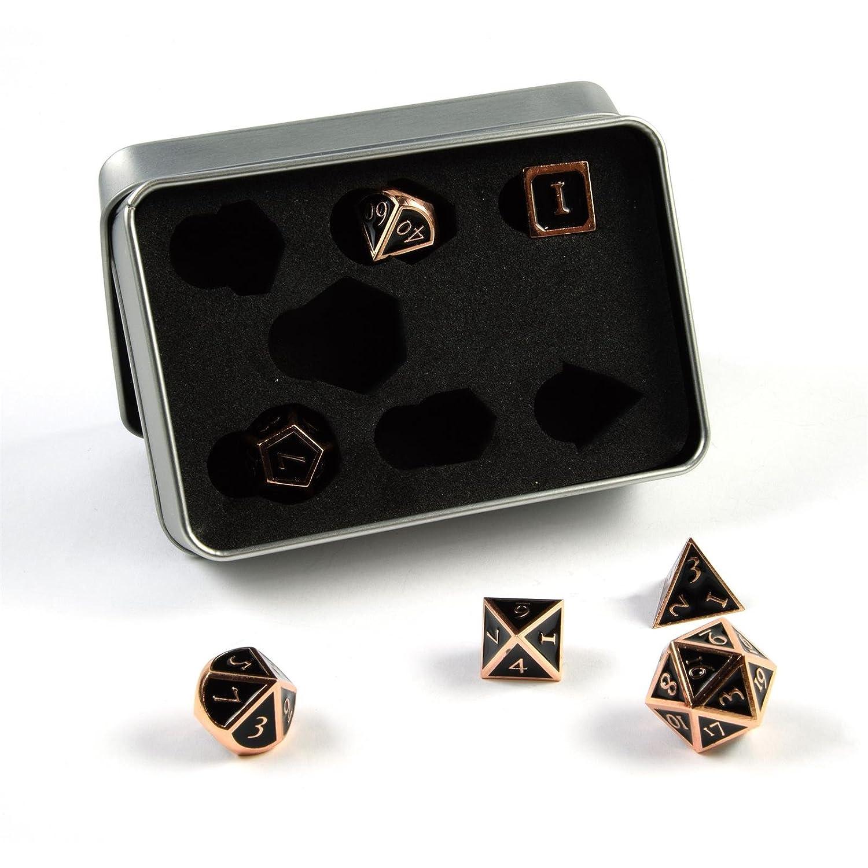 shibby 7 dés polyédriques Les Steampunk Jeux de rôle Les Jeux de Table en cuivre Noir Boîte de Rangement PhoneNatic