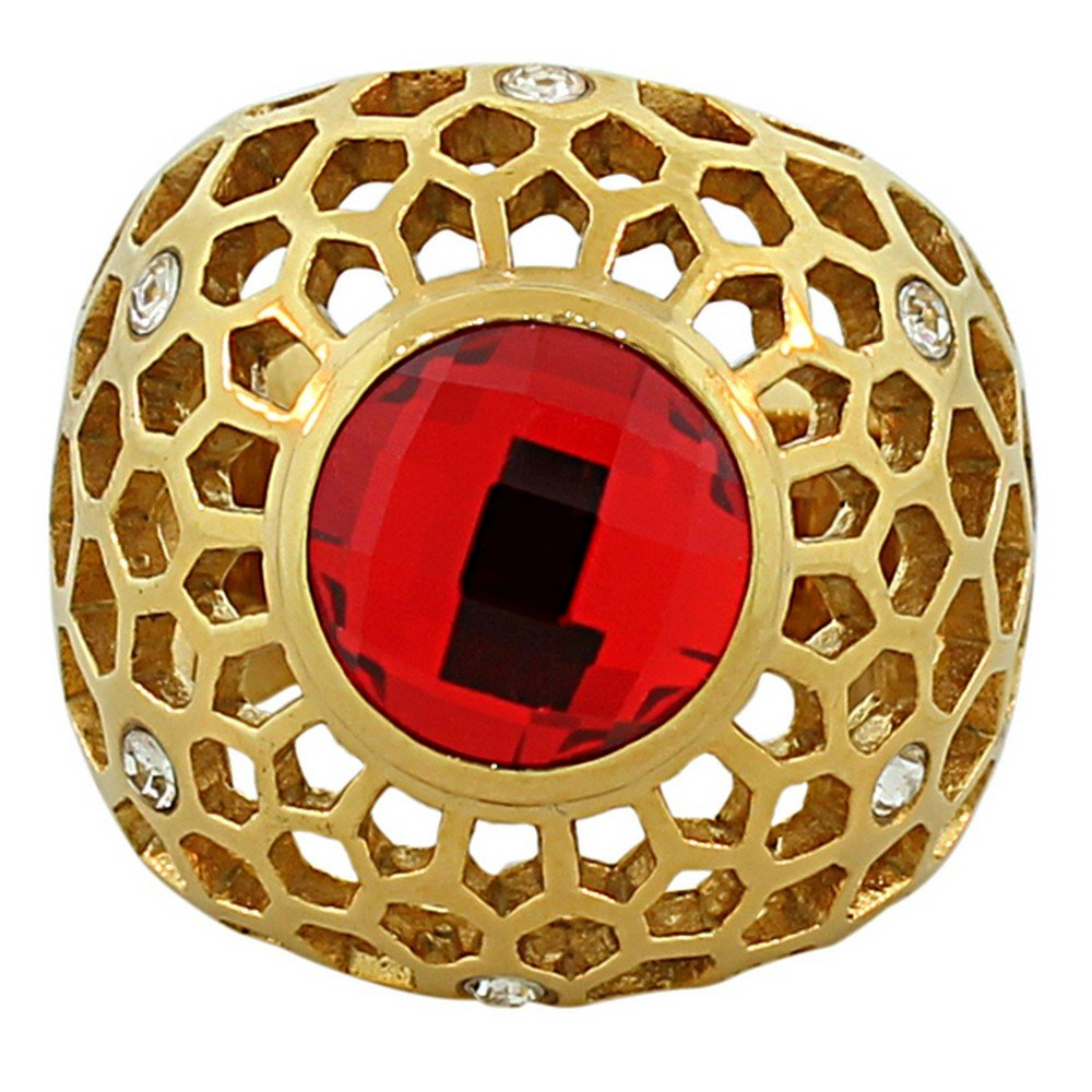 TECNO STEEL Stainless Steel Yellow Gold-Tone Red Ruby-Tone CZ Statement Ring