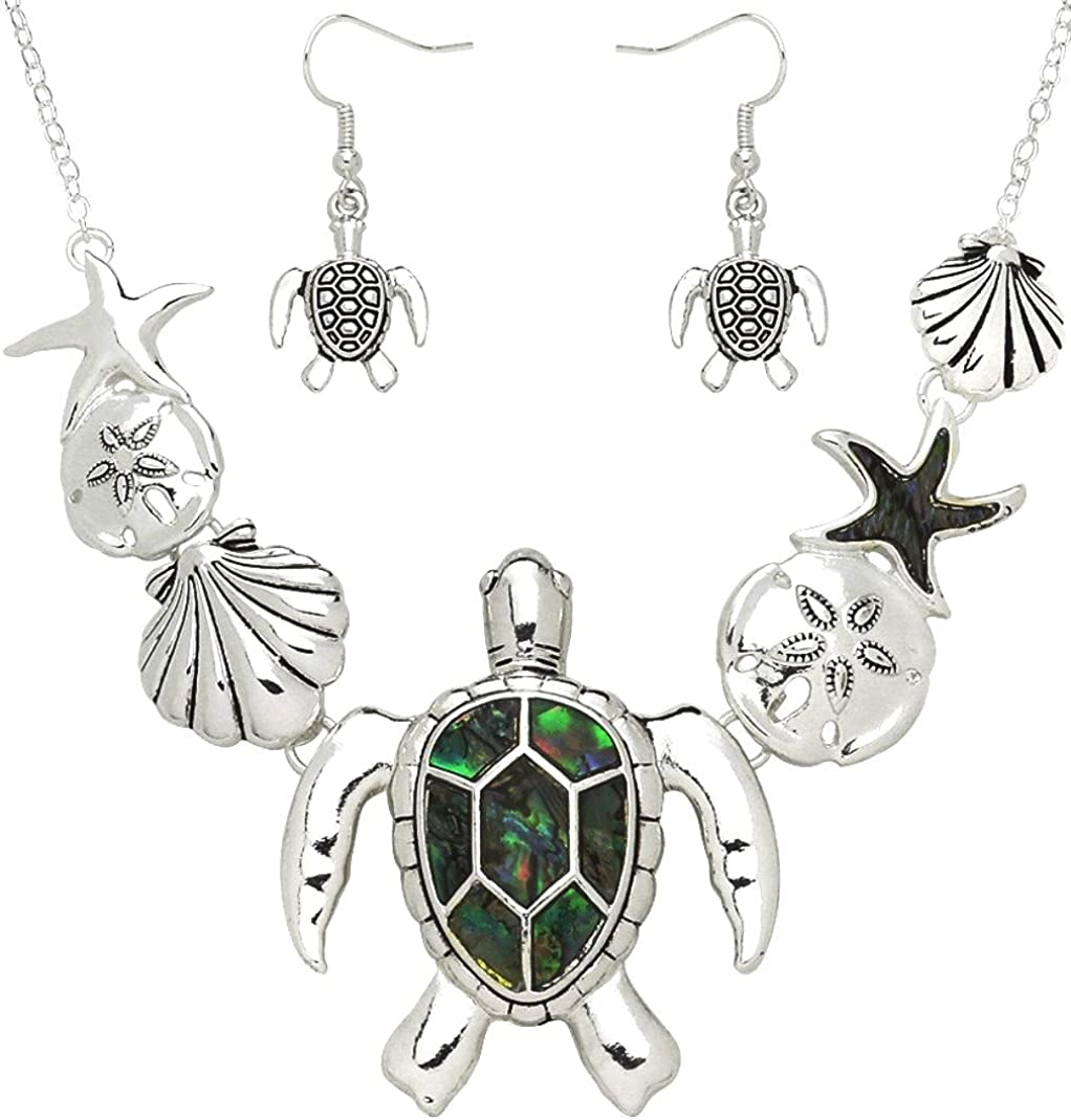 Amazon Com Dianal Boutique Gorgeous Sea Turtle Necklace And Earrings Set Abalone Shell Accent Sand Dollar Starfish Seashell Jewelry