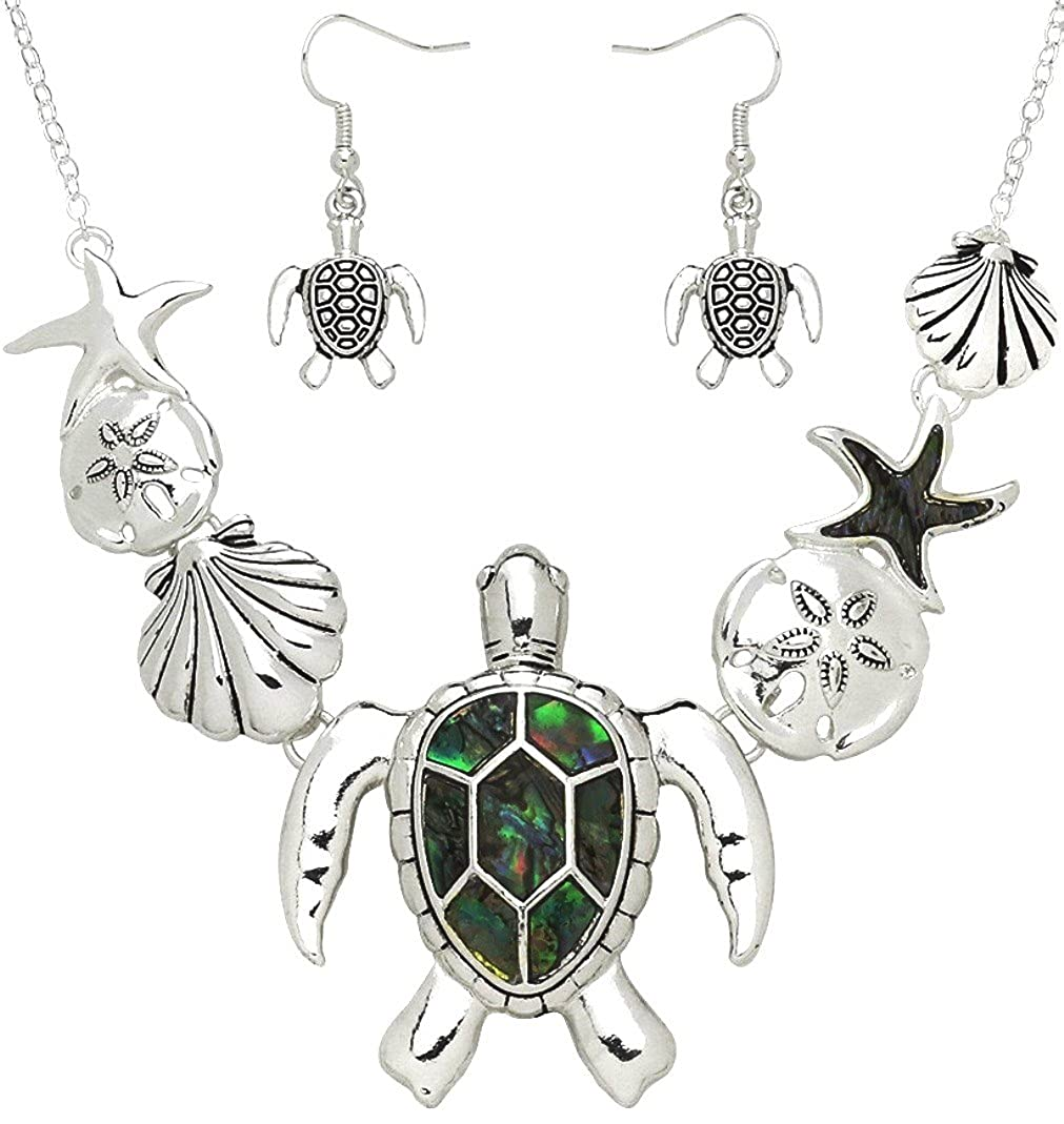 3c9e637ec Amazon.com: DianaL Boutique Gorgeous Sea Turtle Sea Life Necklace and  Earrings Set Abalone Shell Accent Sand Dollar Starfish Seashell: Jewelry