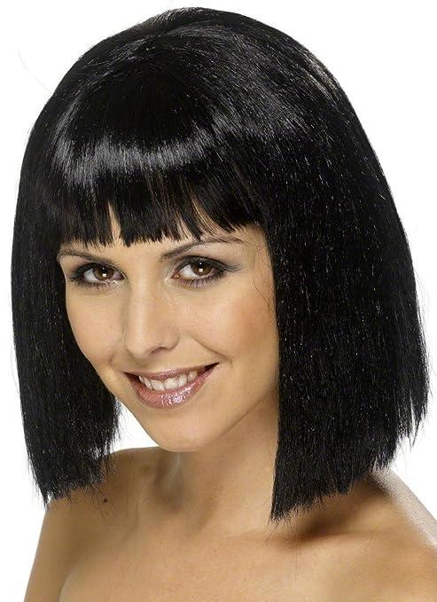 Perruque brune avec frange femme: Amazon.