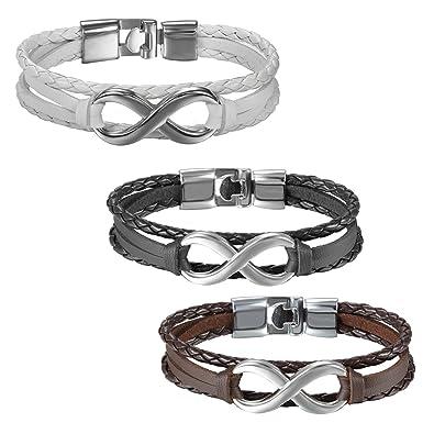 8048e940de29 JewelryWe Joyería 3 Piezas Pulsera Infinito Infinity Pulseras Para Parejas  Enamorados Hombre Mujer