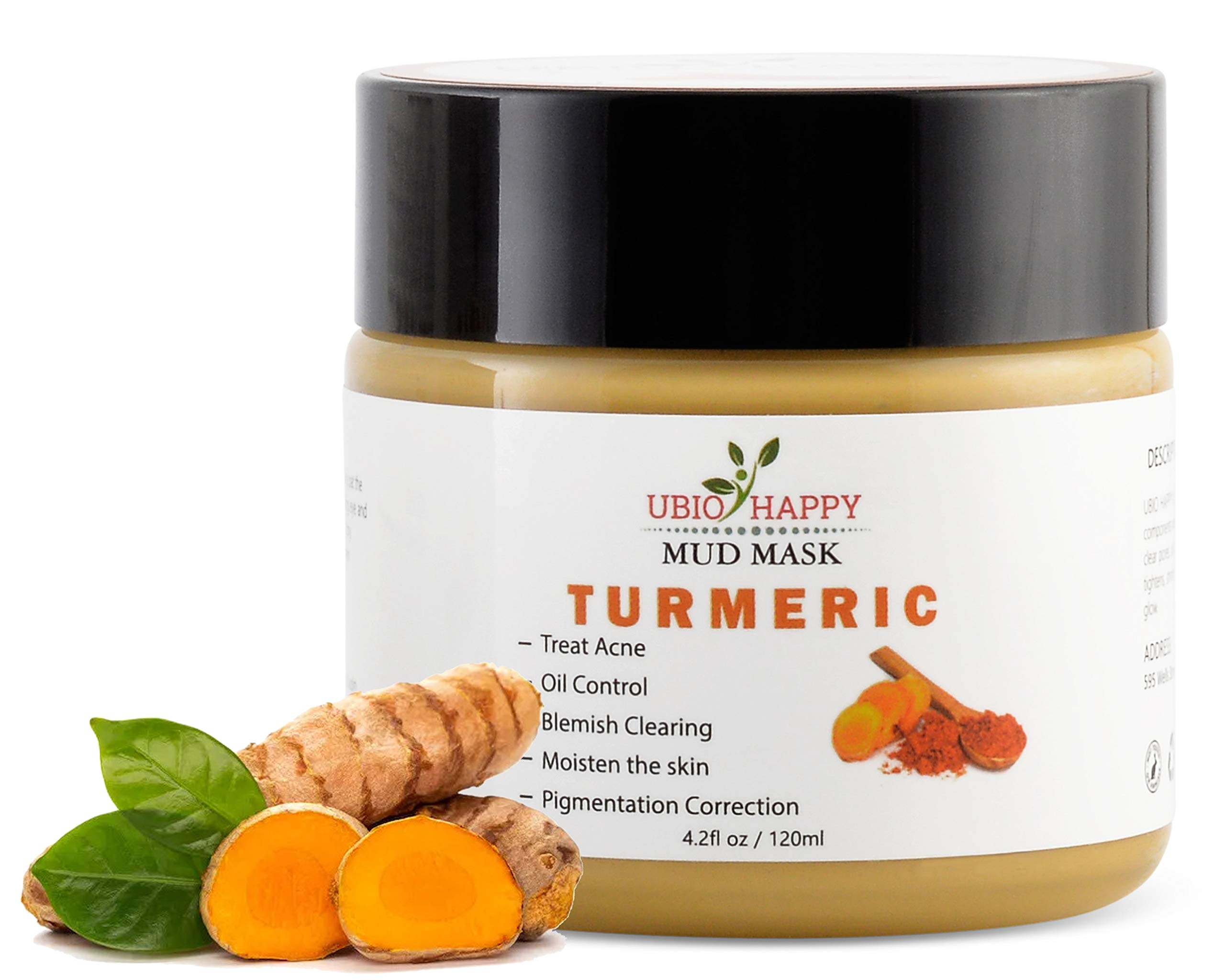 Organic Turmeric Face Mask | Bentonite Clay Mud Peel Mask for Acne Treatment and Hydrated Skin | Fortified with Healing Jojoba Oil, Aloe Vera and More | Natural Spot & Blemish Remover Facial Cleanser