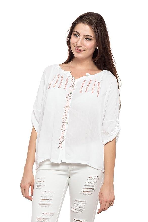 ... Primavera Verano Otoño Mujer Femeninas Elegantes Camisa Manga Larga Casual Vintage Fiesta Fashion Rebajas - Blanco: Amazon.es: Ropa y accesorios