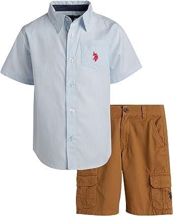 US Polo Assn. Juego de camisa y pantalón corto para niños de 2 piezas