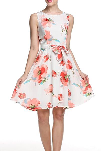 Zeagoo - Vestido - trapecio - Sin mangas - para mujer X+Rot+Blumen