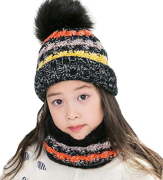 T WILKER 2Pcs Kids Winter Knitted Hats+Scarf Set Warm Fleece Lining Cap for  5 4e44a5e6fac4