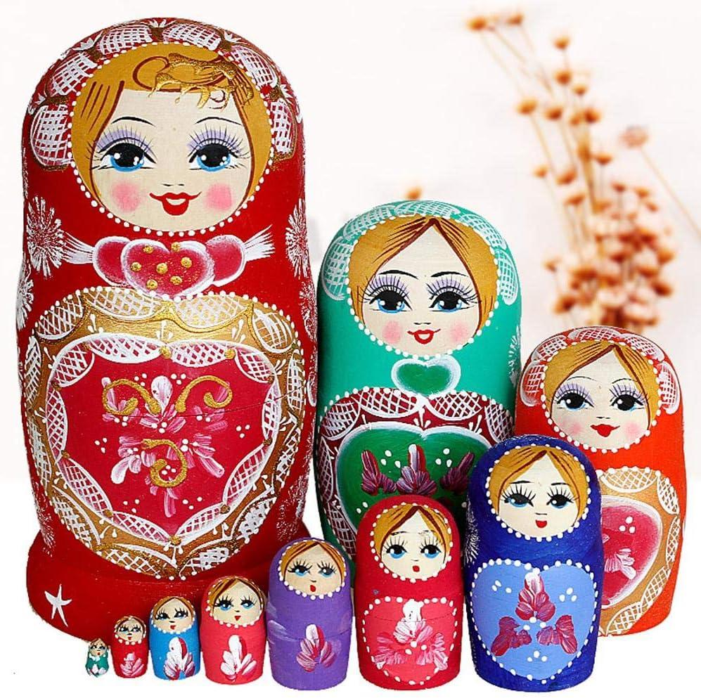 Babuschka Holzpuppe Geschenk Spielzeug 10 St/ück Handgefertigt in Russland Naturals Russische Matroschka-Puppen Semyonov Gelb 10 traditionelle Matroschkas Klassisch Semyonov Gelb 22cm