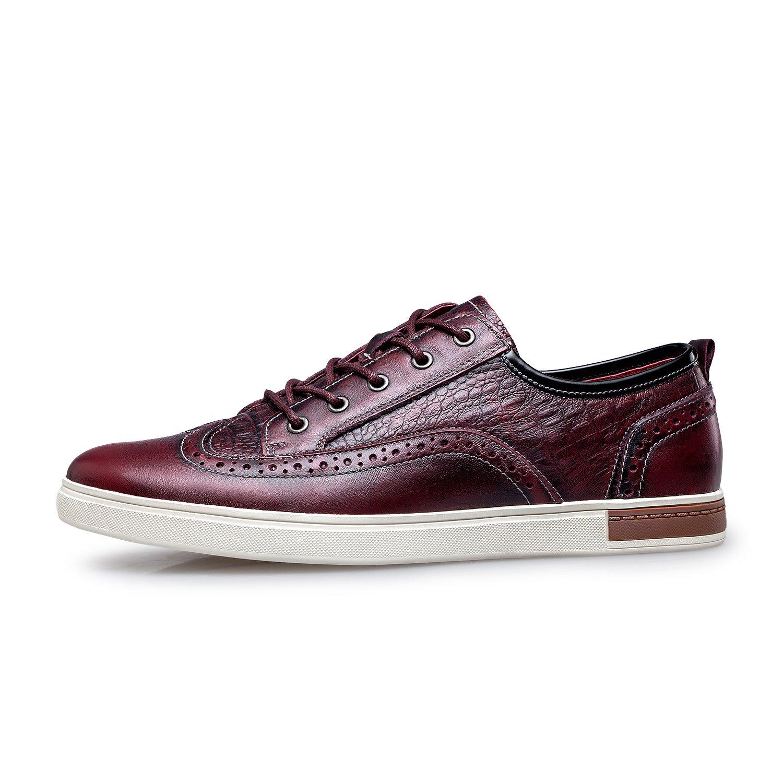 ZRO Men's Wingtip Casual Leather Oxford Sneaker Shoes Wine US 11 by ZRO (Image #2)
