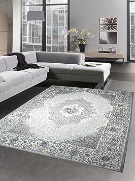Merveilleux Salon Tapis Classique Oriental Avec Des Roses Gris Rose Größe 160x230 Cm