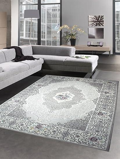 Wohnzimmerteppich Teppich klassisch orientientalisch mit Rosen grau rosa