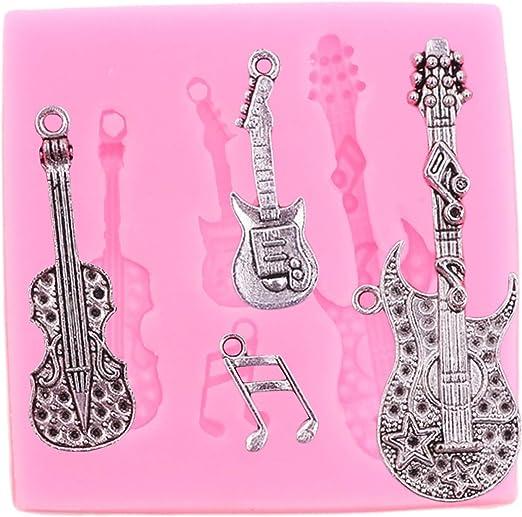 Molde de silicona con diseño de guitarra, bajo, nota musical en 3D ...