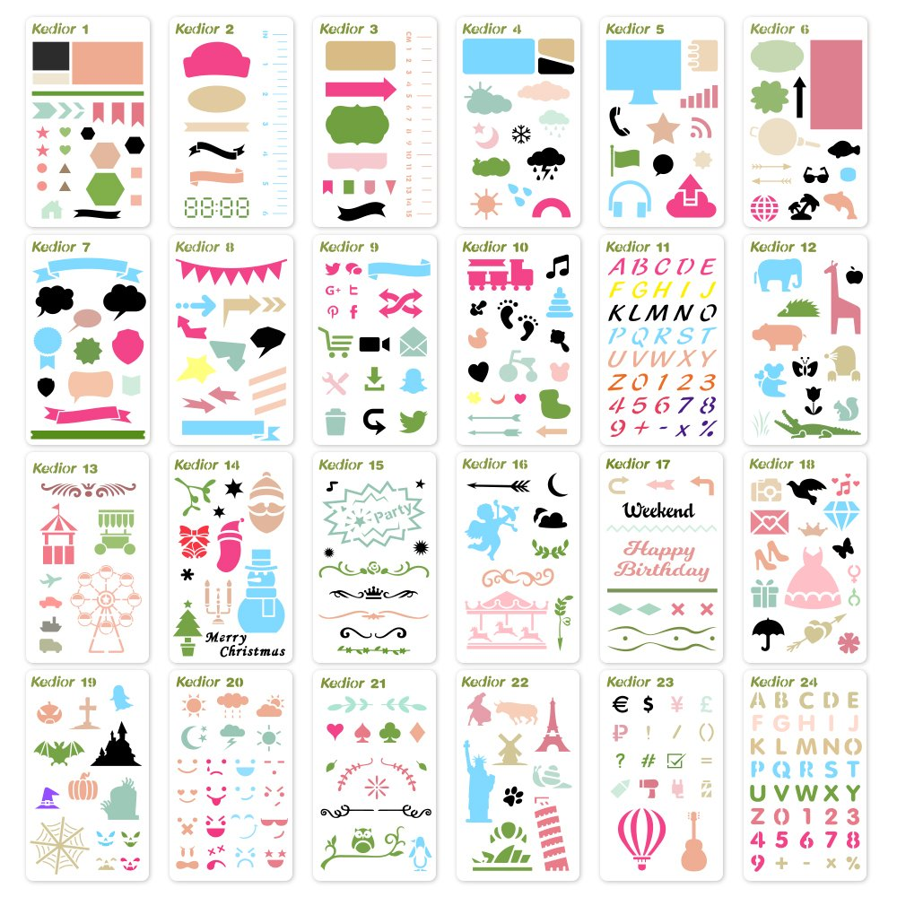 KEDIOR Bullet Journal Stencils Plastic Planner Supplies for Journaling, Notebook, Diary, Scrapbook, 24PCS DIY Drawing Stencil Template 4x7 inch 4336946397