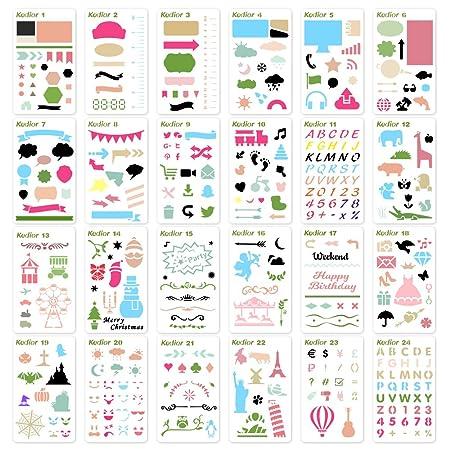 KEDIOR Bullet Journal Plantilla Dibujo, 24 Piezas Stencil Plantillas para Accesorios Scrapbooking: Amazon.es: Juguetes y juegos