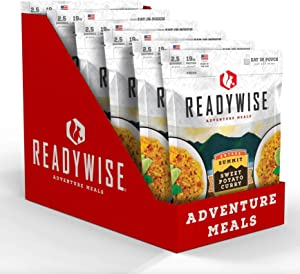 ReadyWise Summit Sweet Potato Curry (6 Count) | Freeze-Dried Backpacking & Camping Food | 15 Servings | Vegan