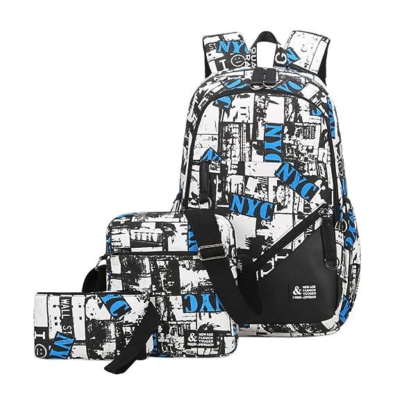 YoungSoul Sets de útiles escolares, Mochilas escolares + Bolsa de hombro + Estuches, Mochila de viaje lona estampadas carteras colegio juveniles Azul ...