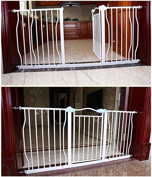 Puerta Para NiñOs Puerta Seguridad Para Mascotas Barandilla Para BebéS Para Escaleras Pasillo Puerta Escalera Guardia Metal Cerrado AutomáTico TelescóPico Decorativo Con Montaje A PresióN En La Puerta (Color: Ancho, TamañO: 97-107cm):