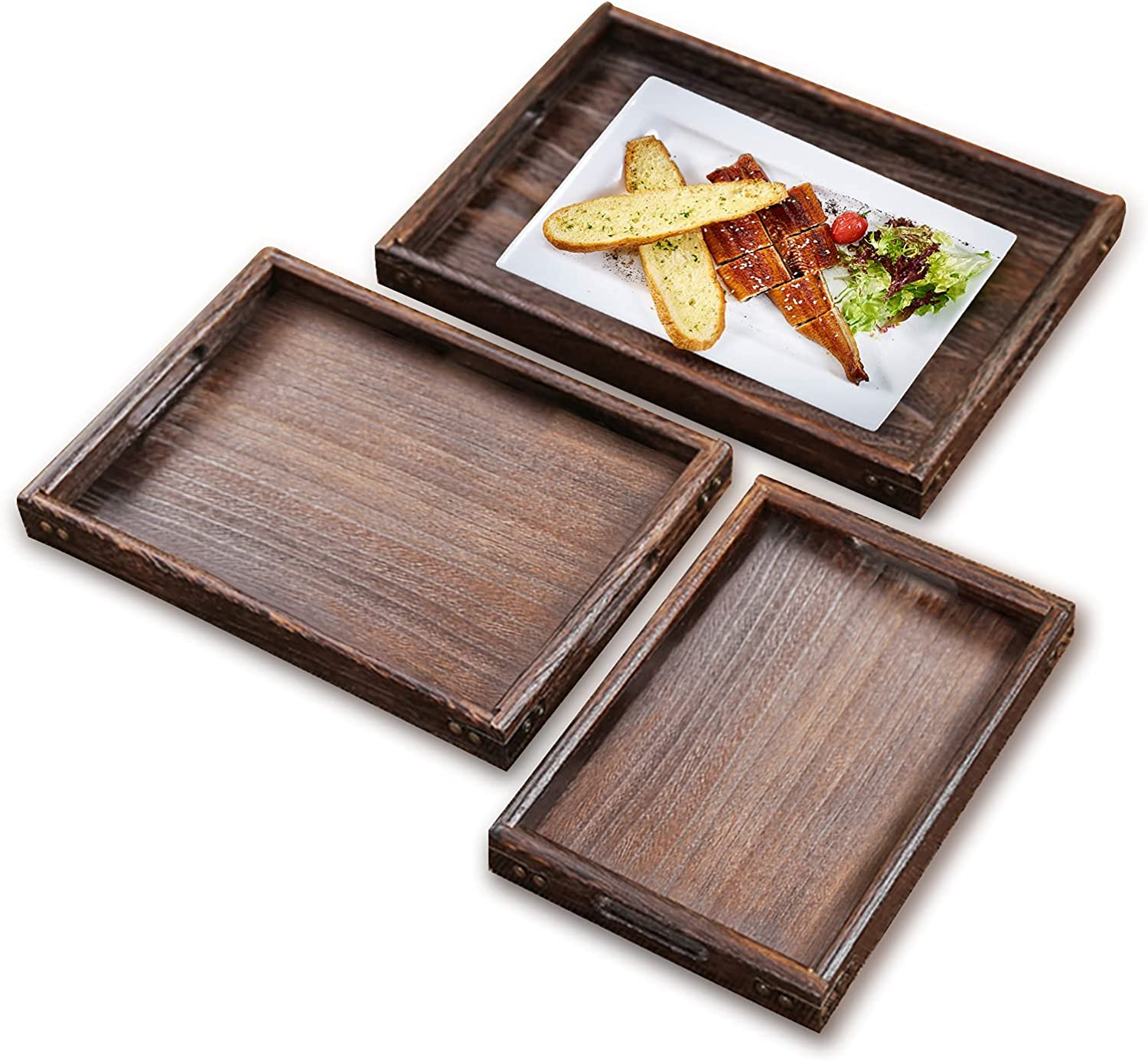 3 Pcs Wooden Serving Tray, Decorative Serving Tray with Handles, Multipurpose Serving Tray Platter for Breakfast | Appetizer | Coffee | Bar and Food, Great for BBQ | Camping | Party
