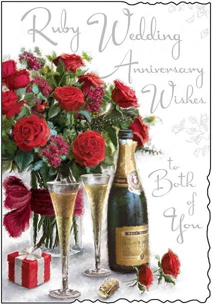 Auguri X Anniversario Matrimonio.Biglietto Di Auguri Per Anniversario Di Matrimonio Ruby Wedding