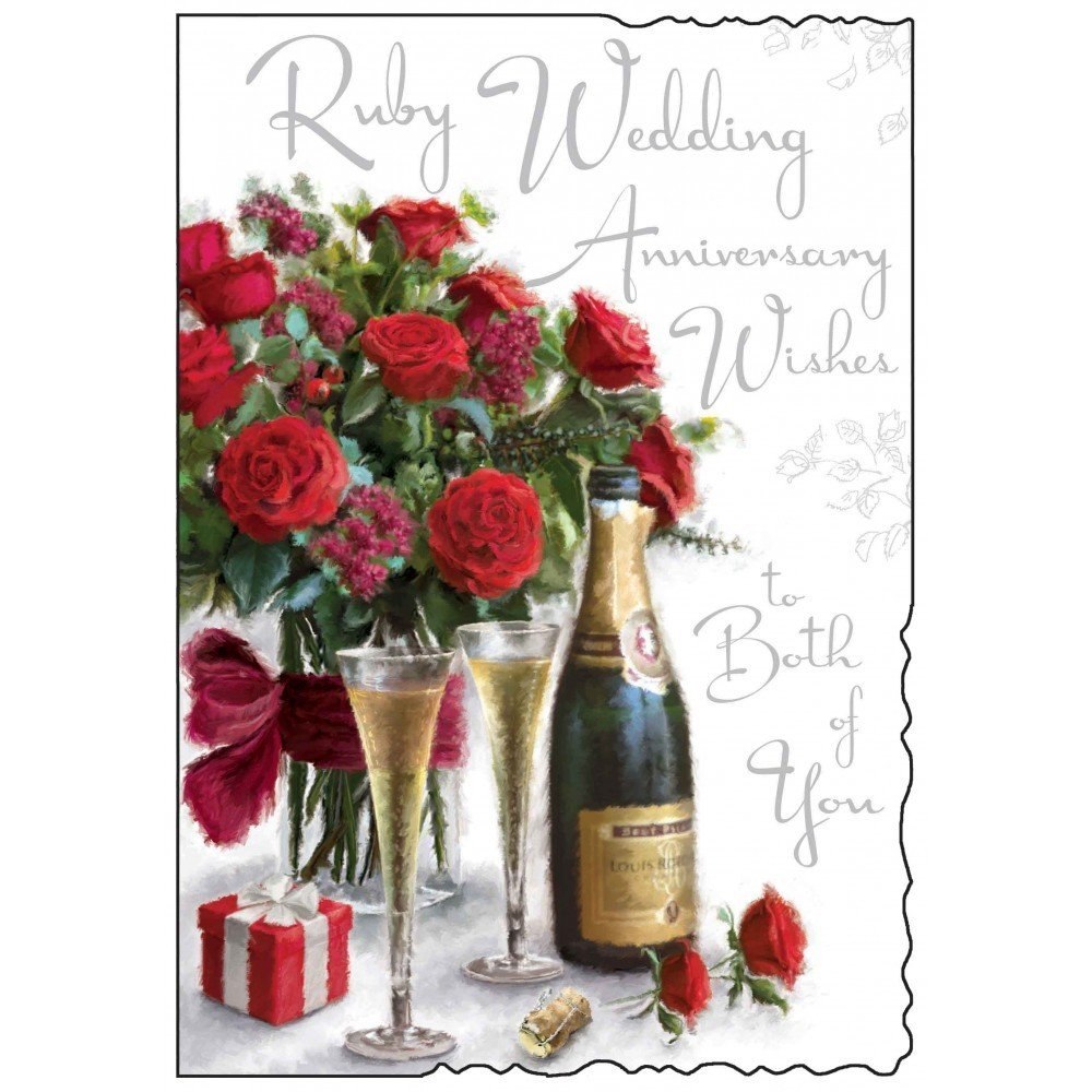 Ruby Wedding Anniversary Wishes Card Jj1085 Amazon Office