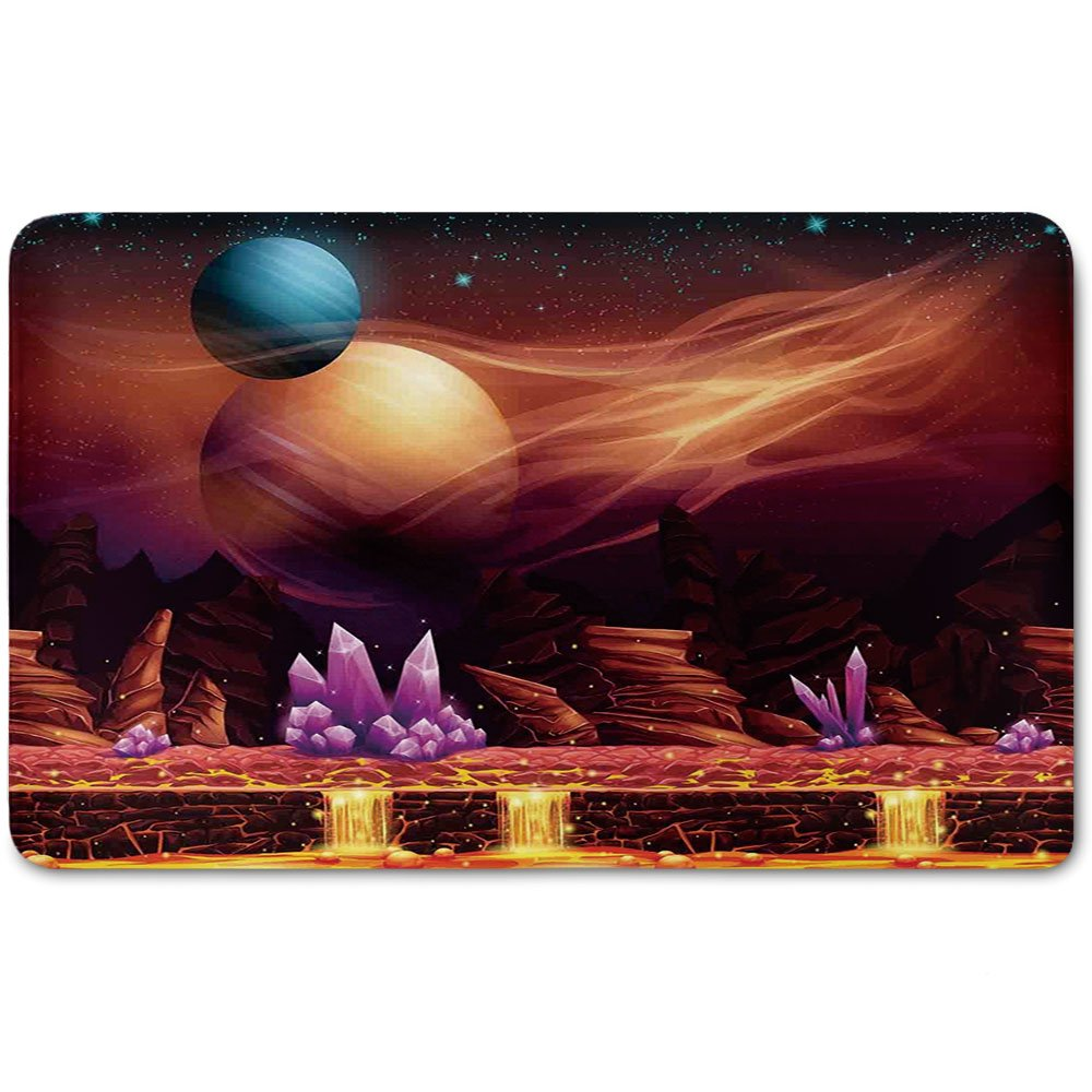Memory Foam Bath Mat,Fantasy House Decor,Fantasy Spot with Golden River in Mars with Nebula and Other Planets Solar Zodiac ThemePlush Wanderlust Bathroom Decor Mat Rug Carpet with Anti-Slip Backing,M
