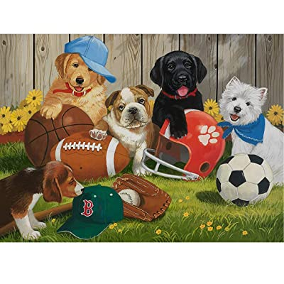 Kariwell Jigsaw Puzzle, Pet Dog Let's Play Ball 1000 Piece Adult Children Puzzle Intellective Educational Toy, Family Entertainment Educational: Beauty
