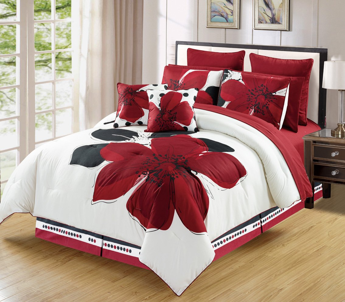 10 - Piece Burgundy Red Black White floral Bed-in-a-bag TWIN Size Bedding + Sheets