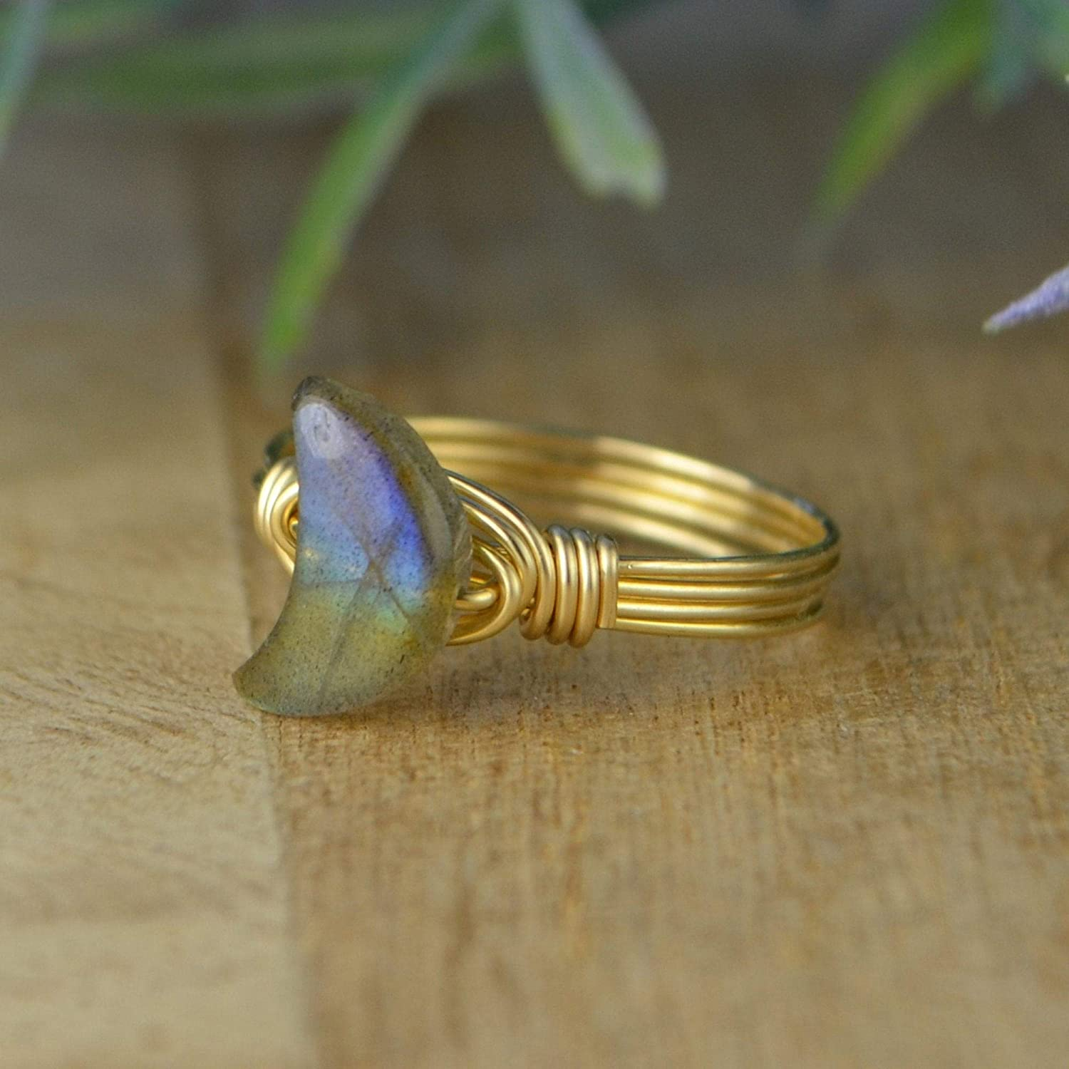 Gold gemstone wire wrapped ring