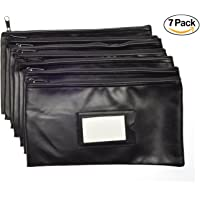 Nadex Bank Deposit Bag - Money Pouch for Cash, Coins and Valuables - Zipper Closure, Framed Card Window, Black Money Bag, 7 Pack