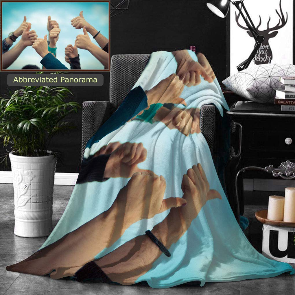 Ralahome Unique Custom Double Sides Print Flannel Blankets College Students With Thumbs Up Super Soft Blanketry for Bed Couch, Twin Size 80 x 60 Inches