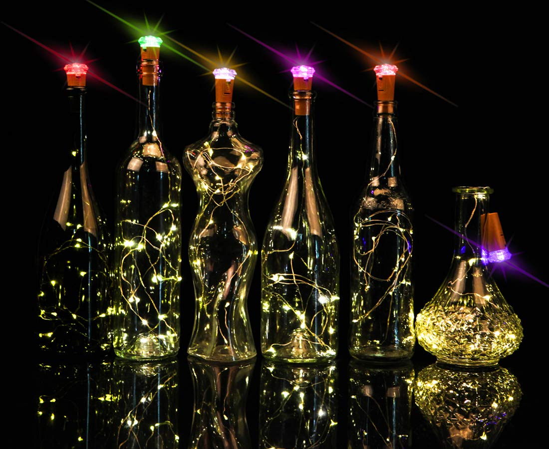 clapzovr Wine Bottle Lights Cork Color Changing 16 LED on 4.6FT Copper Wire Battery Operated Cork Fairy String Lights for DIY Party Decoration Wedding Holiday Christmas Pack of 6