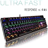 magicelec Mechanical Keyboard USB Gaming Keyboard with 104 Rainbow Anti-Ghosting Keys with Adjustable Colors Customizable with 9 Presets for PC Gamers