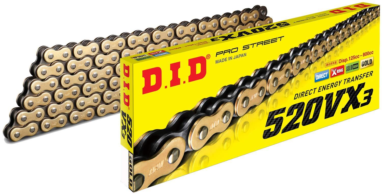 D.I.D 520VX3GB-118 DID 520VX3 Gold X-Ring Chain 118 Link by D.I.D.