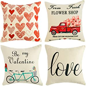 WLNUI Valentines Day Pillow Covers 18x18 Inch Set of 4 Happy Valentines Love Heart Farm Fresh Flowers Truck Bicycle Decorative Throw Pillow Covers Cushion Cases for Valentine Home Farmhouse Decor