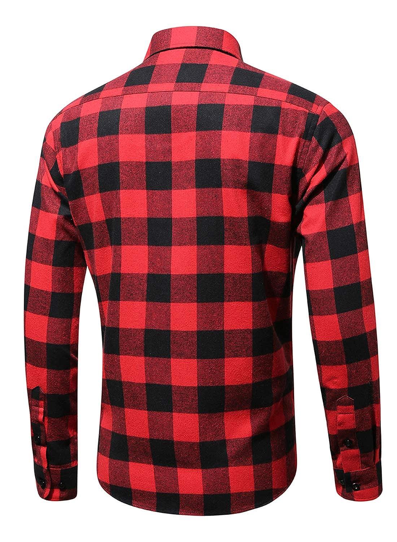 Taylover Mens Long Sleeve Plaid Shirts Button Down Flannel Shirt Casual Dress Shirt