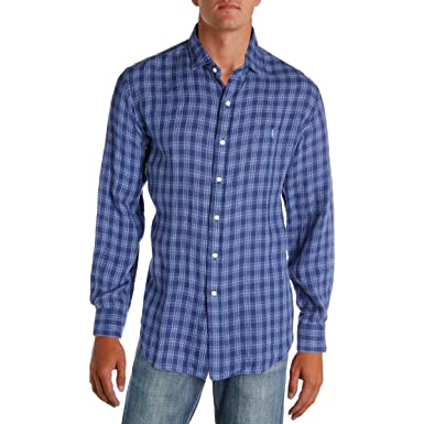 2251aede5 Polo Ralph Lauren Mens Linen Standard Fit Button-Down Shirt at Amazon Men s  Clothing store