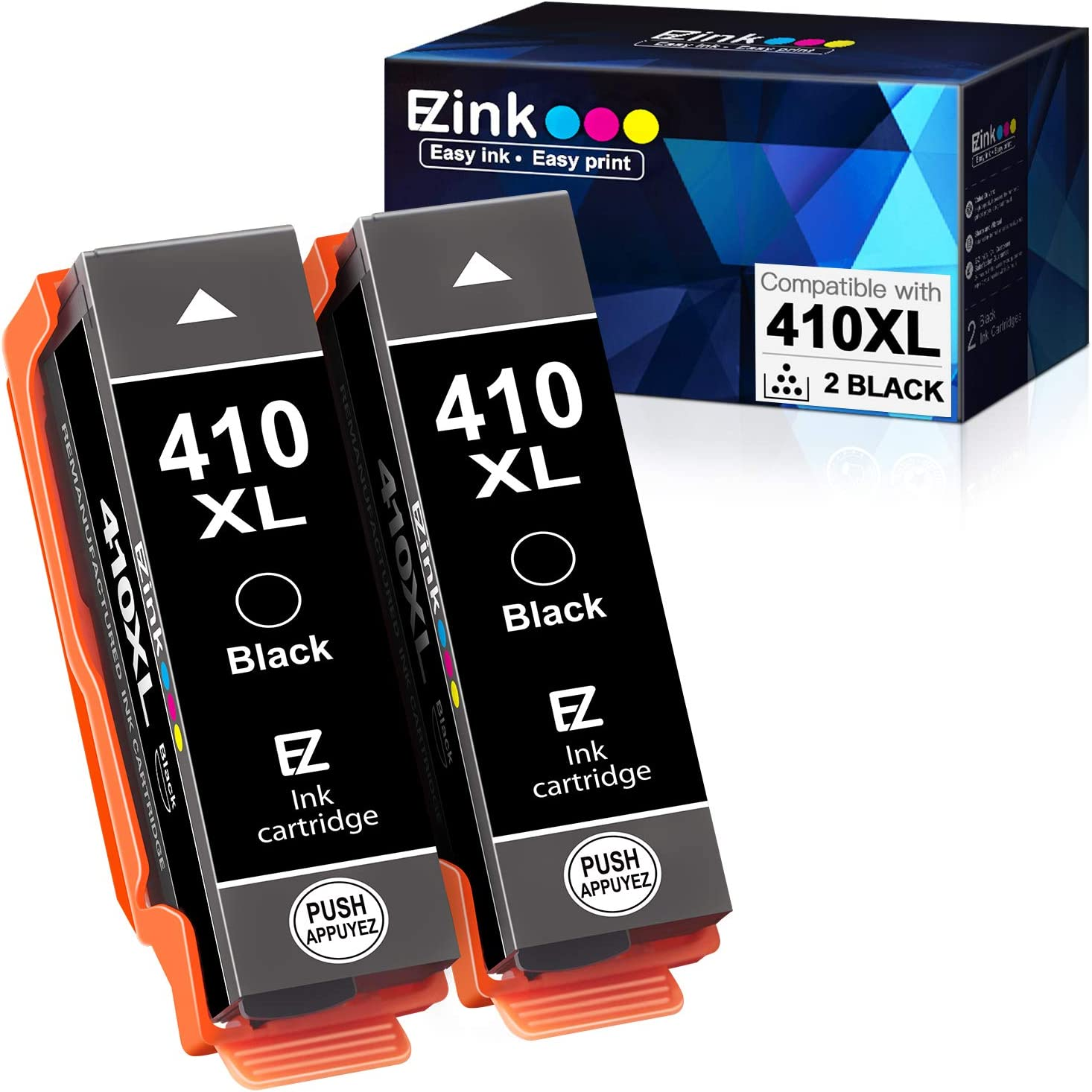E-Z Ink (TM) Remanufactured Ink Cartridge Replacement for Epson 410XL 410 XL T410XL to use with Expression XP-640 XP-830 XP-7100 XP-530 XP-630 XP-635 (2 Black with The Newest Updated Chip)