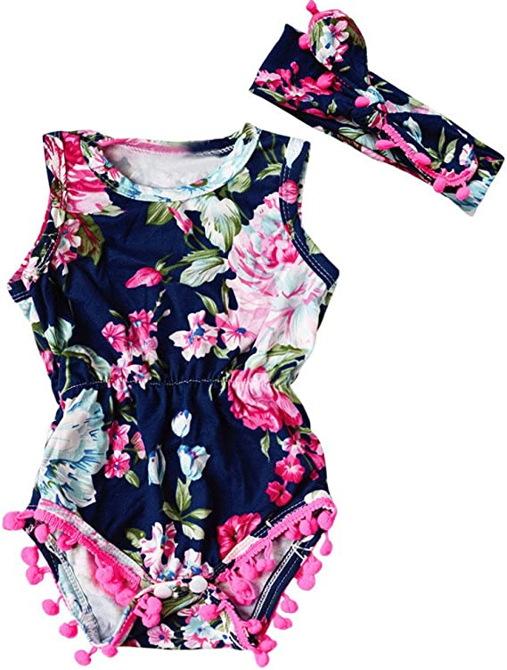 Toddler Baby Girl Vest Romper Floral Bodysuit Jumpsuit Sunsuit Outfit Clothes CA